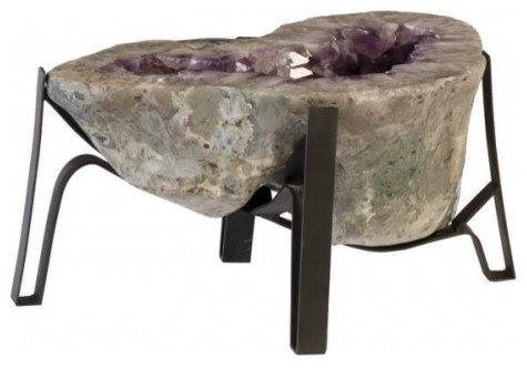 Terrific 32 L Coffee Table Large Natural Purple Amethyst Crystal Modern Metal Base Home Interior And Landscaping Ferensignezvosmurscom