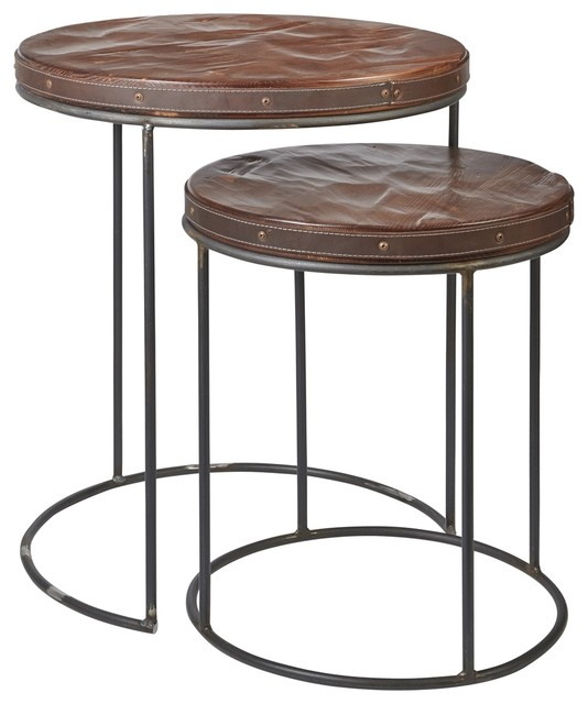 Heritage nesting side tables transitional coffee table for Side coffee table set