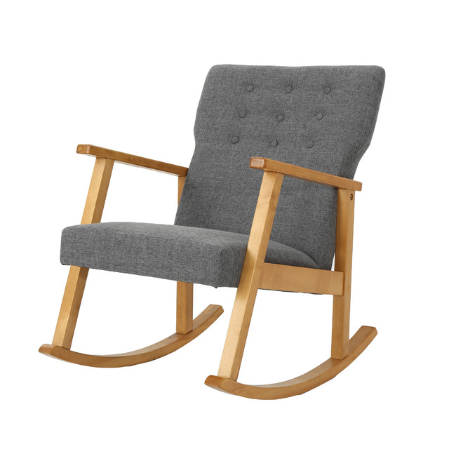 Hank Mid Century Modern Fabric Rocking Chair, Gray