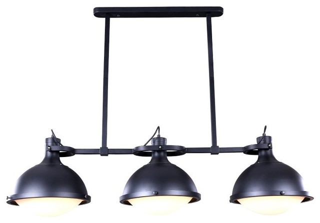 3 Light Industrial Style Island Pendant With Iron Holder Industrial Kitch