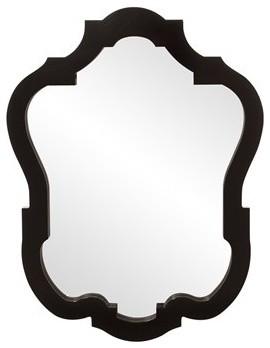 Elegant Howard Elliott Asbury Glossy Black Mirror Home Accent Decor.