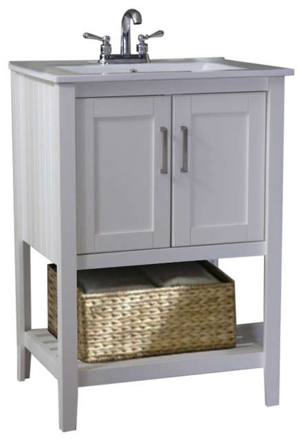 Atticus Single-Sink Vanity With Basket, White, 24.
