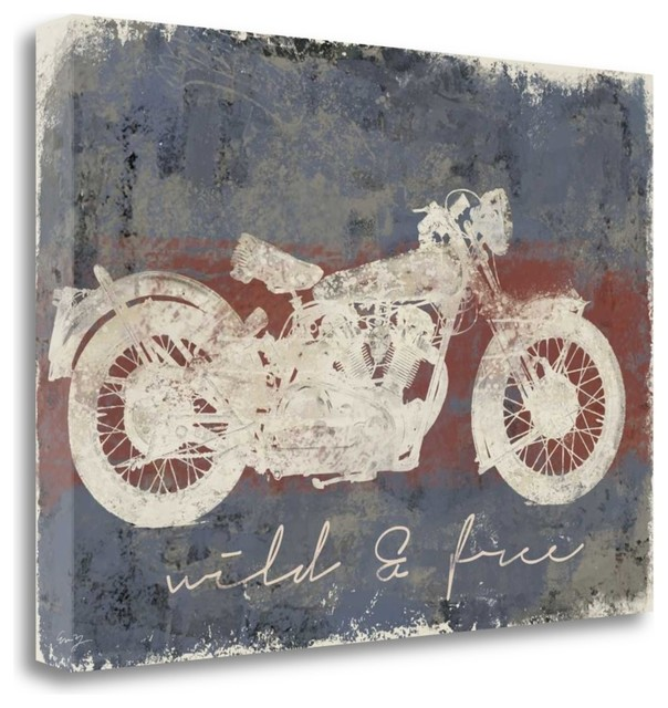 Wild And Free Motorcycle By Eric Yang, Gallery Wrap Canvas Art Printed 40x28.