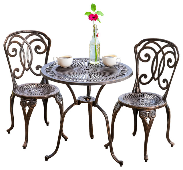 budapest outdoor cast aluminum bistro 3-piece set - contemporary