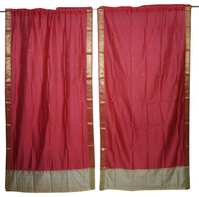 2 Red Sheer Sari Curtain Rod Pocket Panel Home Decor Door Draperies Room Decor  96X44