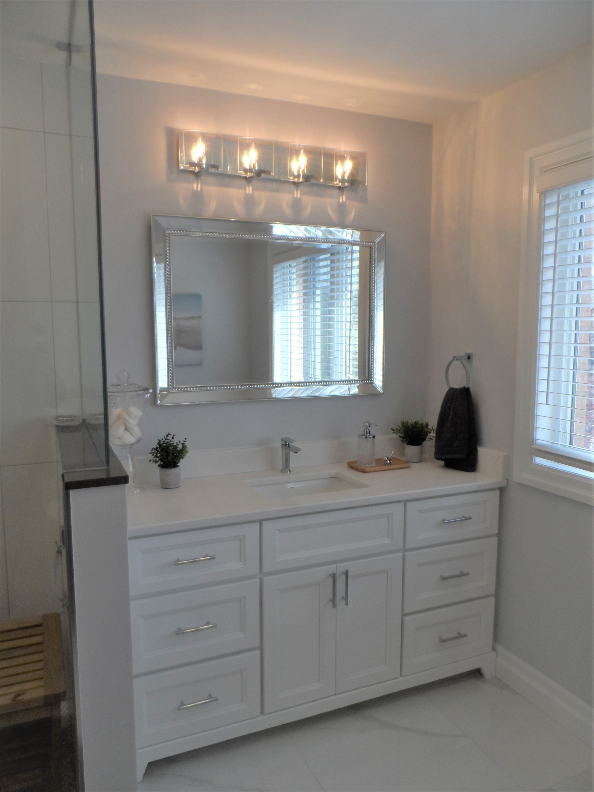 Master Bathroom with stunning shower accent tile