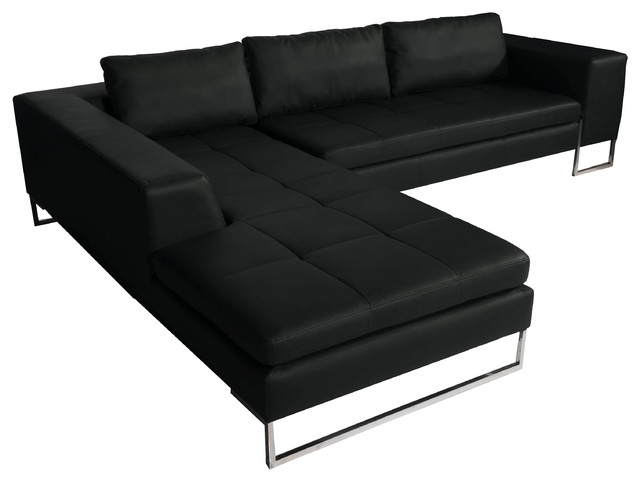Lexington Faux Leather Sectional Black Shiny Left Arm modern-sectional -sofas  sc 1 st  Houzz : faux leather sectional - Sectionals, Sofas & Couches