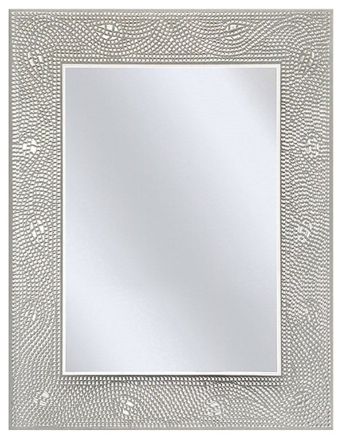Rectangle Bathroom Vanity Mirror With Mosaic Crystal Floral Motif Border Contemporary Mirrors