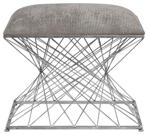 Modern Open Silver Metal Rods Accent Bench, Gray Stool Architectural Retro