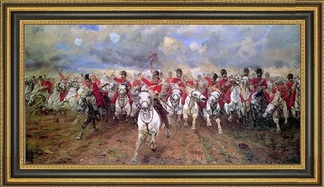"Elizabeth Thompson Scotland For Ever! Framed Premium Canvas Print, 14""x28""."