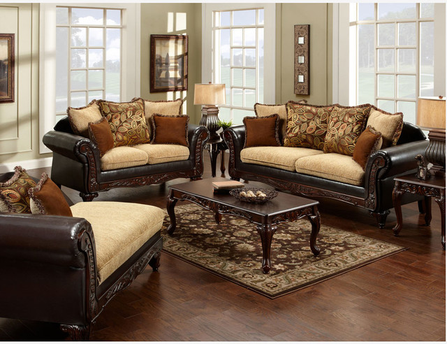 Traditional Espresso Fabric Leather Sofa Loveseat