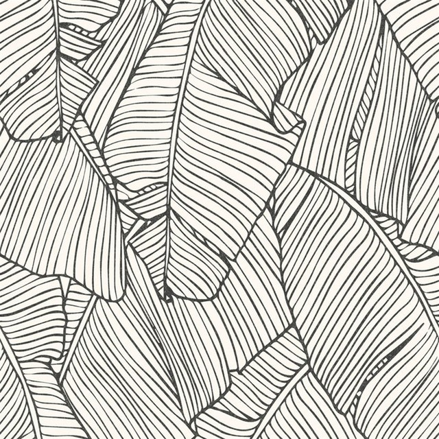 Leaf Outline Abstract Wallpaper, White/black, Double Roll.