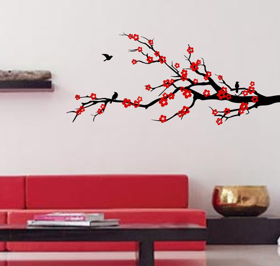 Properous Cherry Blossom Wall Decals, Wall Decal, Black Modern Wall Decals Part 66