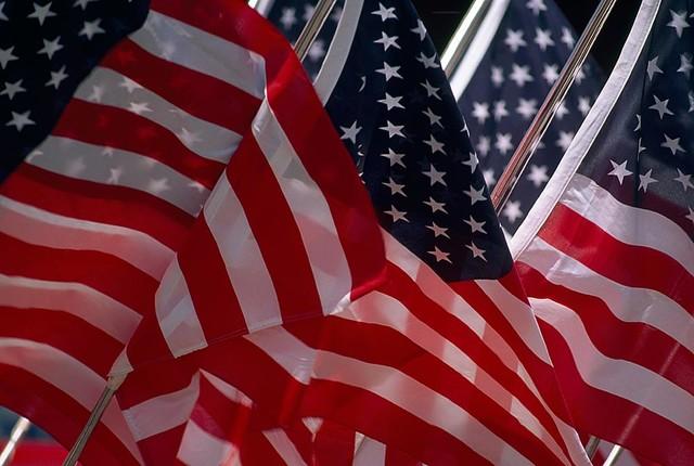 United We Stand American Flags Wallpaper Wall Mural, Self-Adhesive