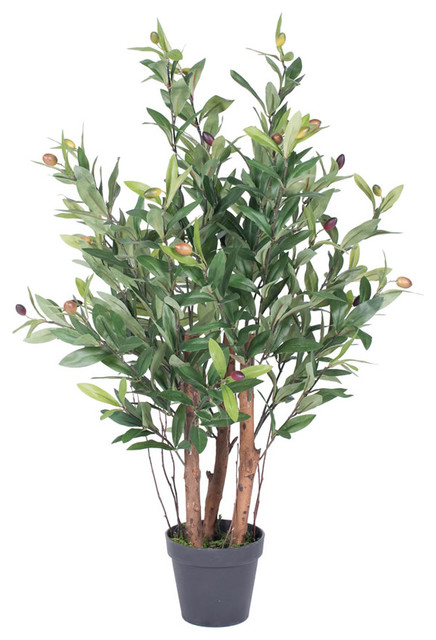 30 olive tree with pot green contemporary artificial for What to plant under olive trees
