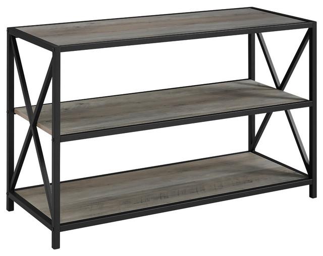 "40"" X-Frame Metal And Wood Media Bookshelf, Gray Wash."