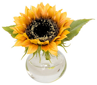 faux sunflower in bubble vase - traditional - artificial flowers