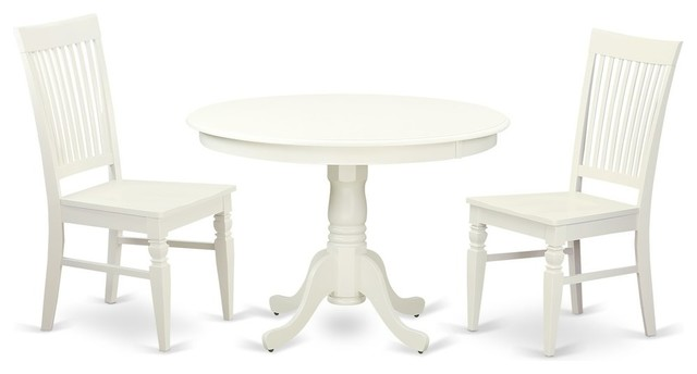 3-Piece Set With a Round Dinette Table and 2 Leather Kitchen Chairs, Linen  White