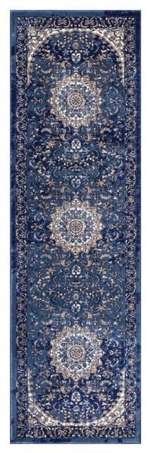 Well Woven Luxbury Mahal Vintage Blue Runner Rug 2&x27;3x7&x27;7.