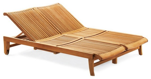 Teak Outdoor Giva Double Chaise Lounger, Double Chaise Lounge Outdoor