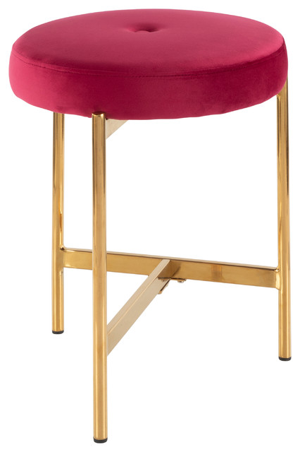 LumiSource Chloe Vanity Stool, Gold Metal and Blush Pink Velvet