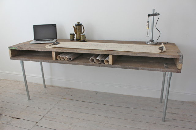 Reclaimed Scaffolding Board Industrial Chic Extra Long Desk with Built In Storag