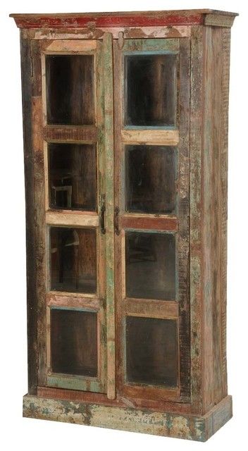 Burke Rustic Reclaimed Wood Glass Door Tall Display Cabinet Farmhouse Storage Cabinets By Sierra Living Concepts