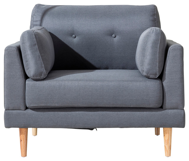 Linen Fabric Accent Chair, Dark Gray Midcentury Armchairs And Accent Chairs