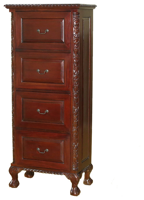Dark Cherry Chippendale 4-Drawer Vertical Filing Cabinet - Traditional - Filing Cabinets - by ...