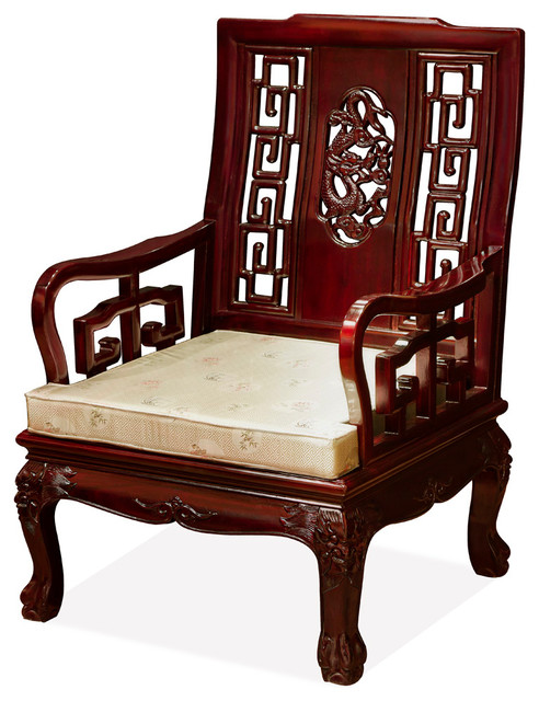 Rosewood Imperial Dragon Motif Arm Chair Asian Armchairs And Accent Chairs