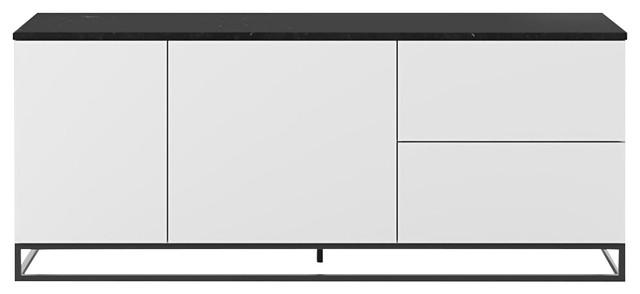 Join 2-Door 2-Drawer Sideboard, Black Marble, With Metal Feet