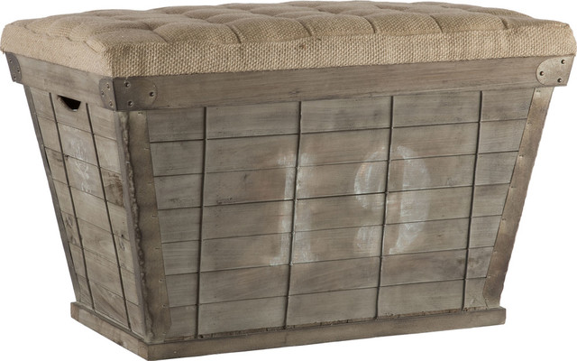French Country White Lettering Long Storage Crate Burlap Ottoman.