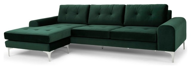 Amazing Colyn Sectional Sofa In Emerald Green And Brushed Stainless Reversible Chaise Creativecarmelina Interior Chair Design Creativecarmelinacom