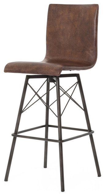 Crenshaw Loft Iron Leather Barstool