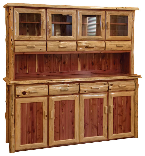 Rustic Red Cedar Log 4 Door Hutch And Buffet