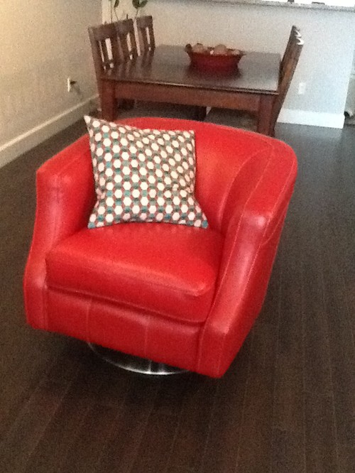 What Color Of Sofa Would Go With My Red Leather Accent Chair.