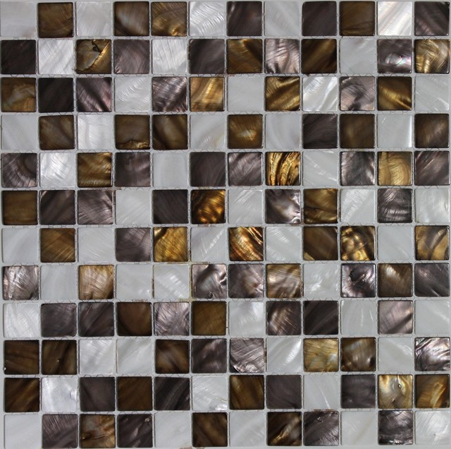 12 51 X12 Sea Flower Mother Of Pearl Brown Gold White Backsplash Wall Tile Transitional Mosaic By Source Inc