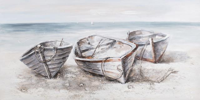 "Rowboats Canvas Art, 55""x28""."