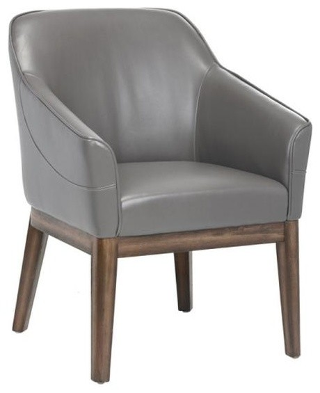 Comfortable Compact Armchair With Distressed Finished Legs, Dove Gray  midcentury-armchairs-and-