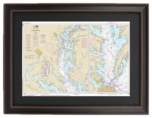 Poster Size Framed Nautical Chart, Chesapeake Bay