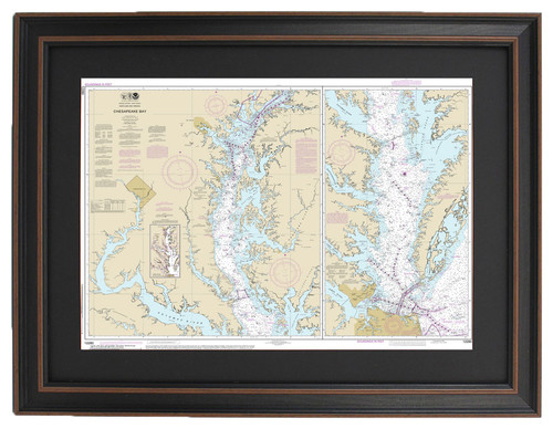 Poster Size Framed Nautical Chart, Chesapeake Bay