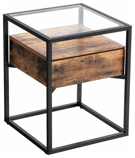 Tempered Glass End Table with Drawer and Rustic Shelf, Sofa side table Iron
