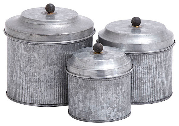 Galvanized metal 3 pc canister set industrial kitchen for Kitchen set industrial