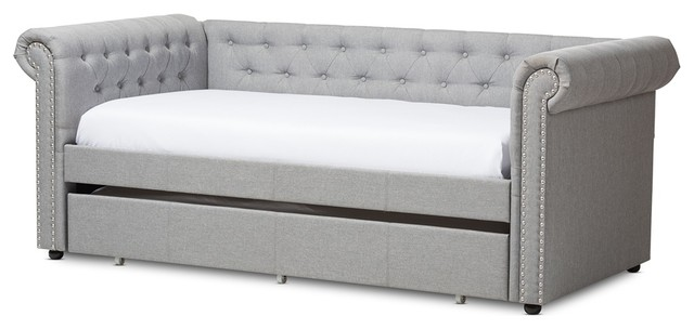 Modern And Contemporary Grrey Fabric Trundle Daybed, Gray, Twin.