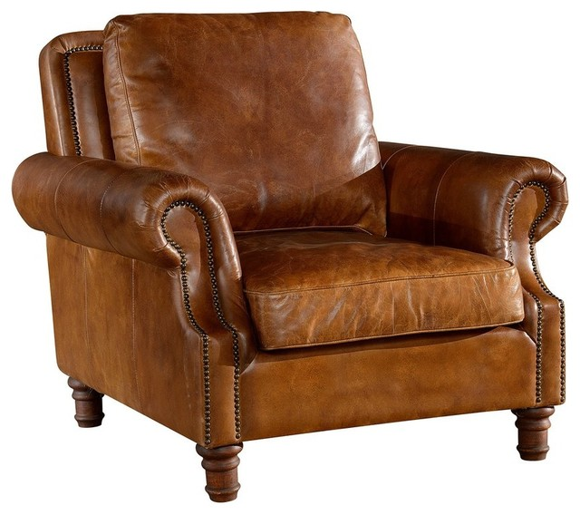 Leather English Rolled Arm Chair Light Brown
