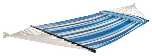 Breathable Performance 2 Person Hammock w/ Pillow, Ocean Blue Stripe