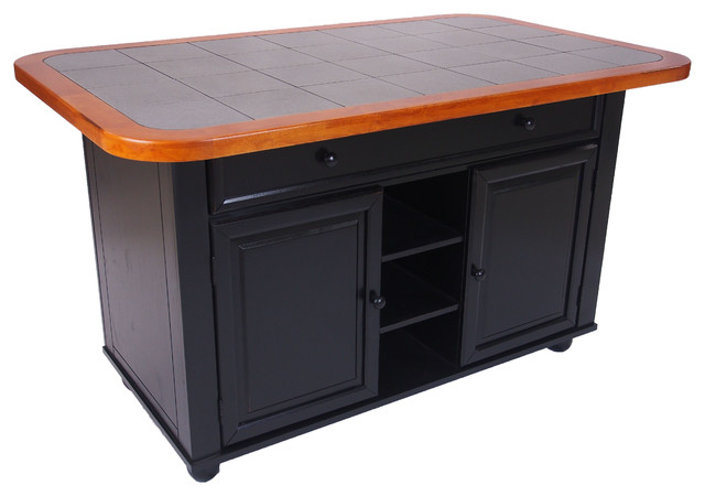 Antique Black Kitchen Island With Cherry Trim And Gray Tile Top.