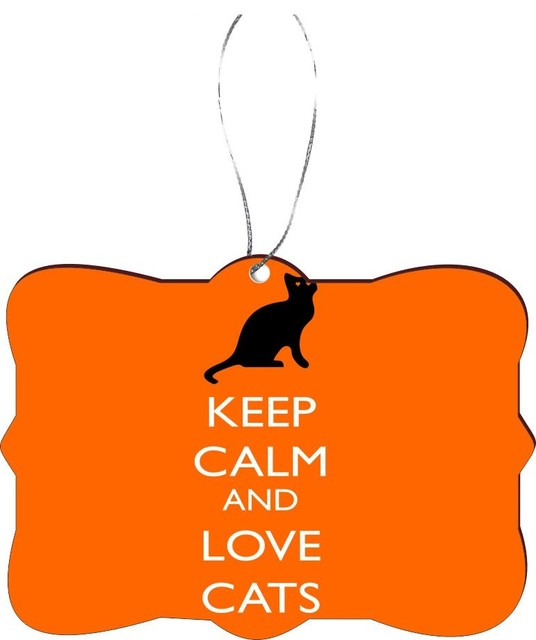 Keep Cat Away From Christmas Tree: Keep Calm Love Cats Orange Color Design Rectangle