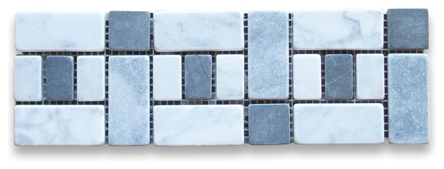 "Bathroom Tiles Mosaic Border 4""x12"" carrara white listello tile mosaic border tumbled"