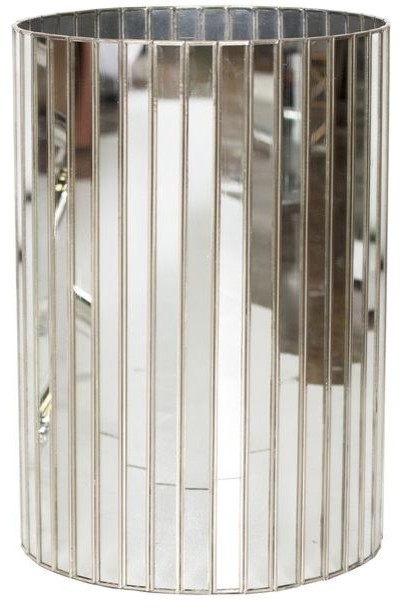 Worlds Away Round Faceted Antique Mirror Wastebasket with Silver Detailing